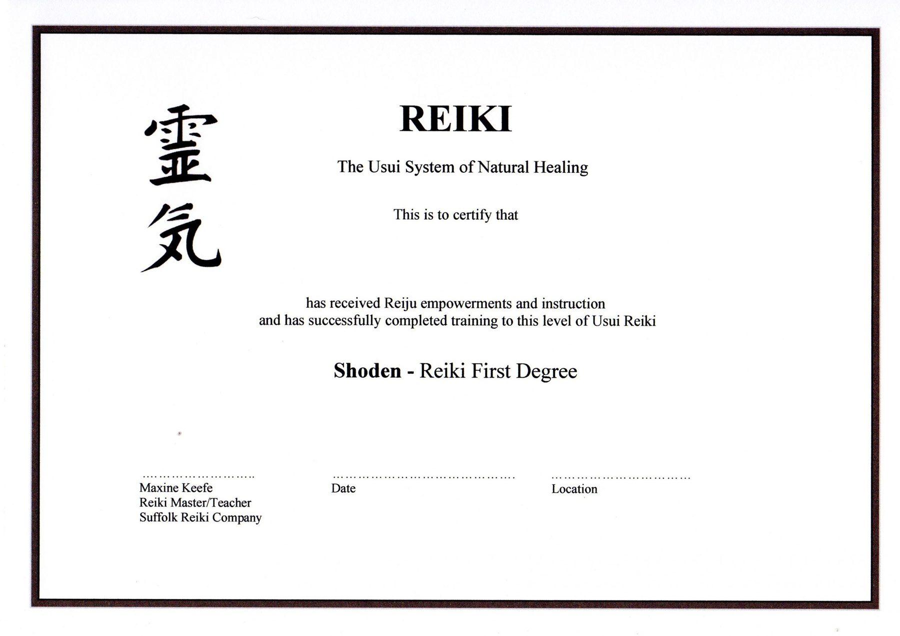 courses - Reiki 1 certificate